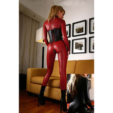 S-4XL Plus Size Women PU Leather Bodycon Jumpsuit Long Sleeve 2 Zipper Open Crotch Bodysuit