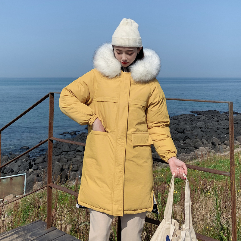 2019 women long   parkas   coat Winter both side wear Thicken warm big fur collar jacket coats Casual female outwear