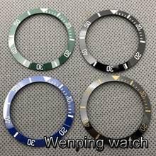 Novo 38mm de alta qualidade preto azul verde cerâmica moldura inserção caber 40mm assista caso relógio masculino moldura