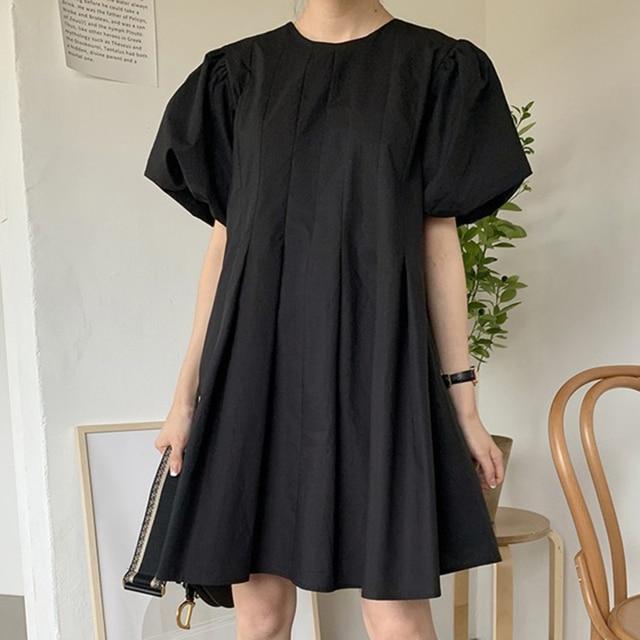 [EWQ] 2021 New Summer Women Vintage Loose High Waist Slim Was Thin Elegant Folds Puff Sleeve O-neck Mini Dress ZA4580 3