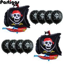 10 sztuk/partia statek piracki balony czaszka Polka Dot lateks helem numer balon urodziny Theme Party globos Wedding decor supplies