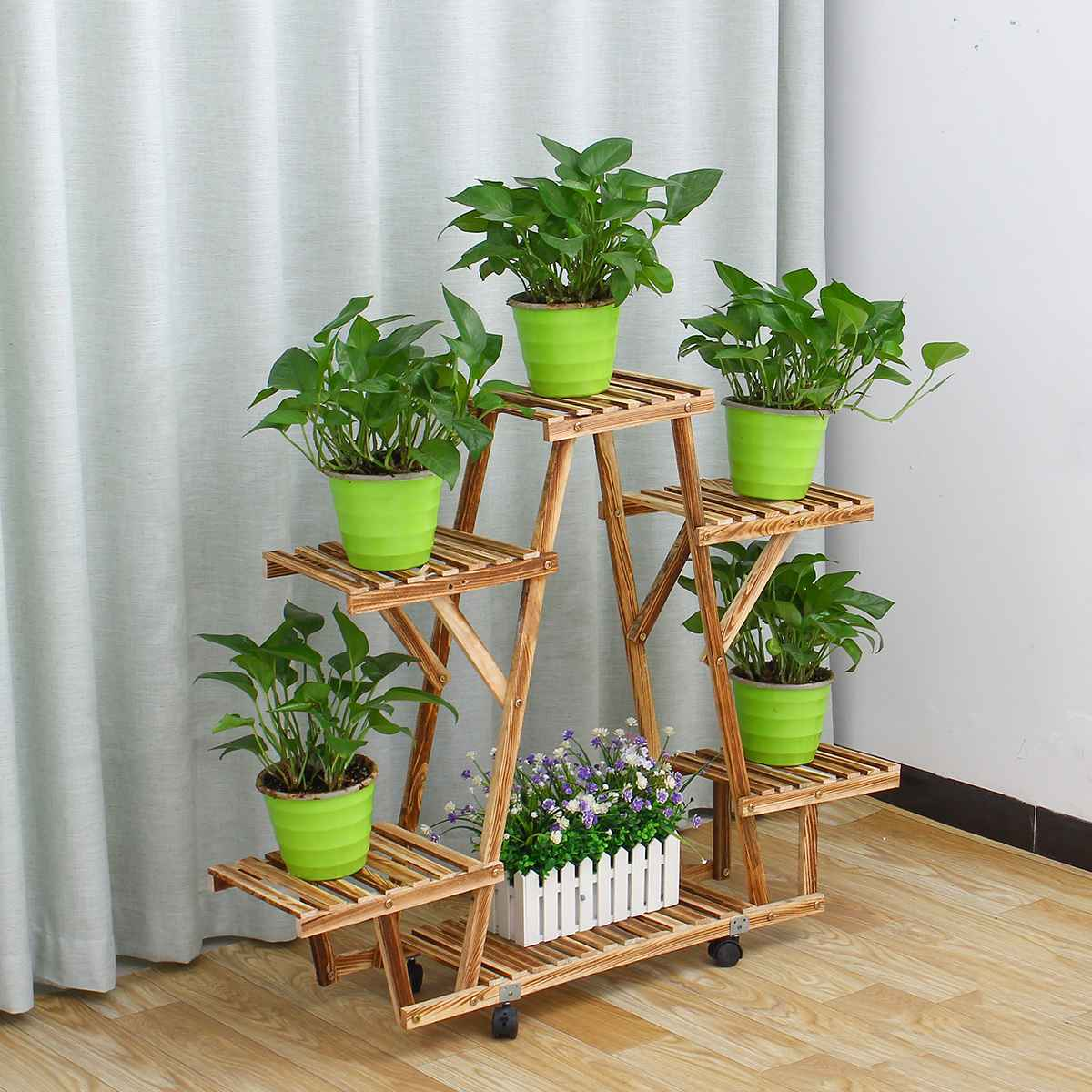 Wooden Plant Stand Indoor Outdoor Patio Garden Planter Flower Pot Stand Shelf