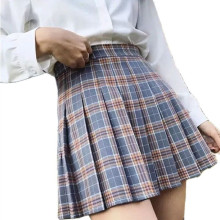 XS-XXL Spring Summer Autumn Women Skirts Student Girl Striped Pleated Waist Female Sweet Mini Dance Plaid Black White Pink Skirt