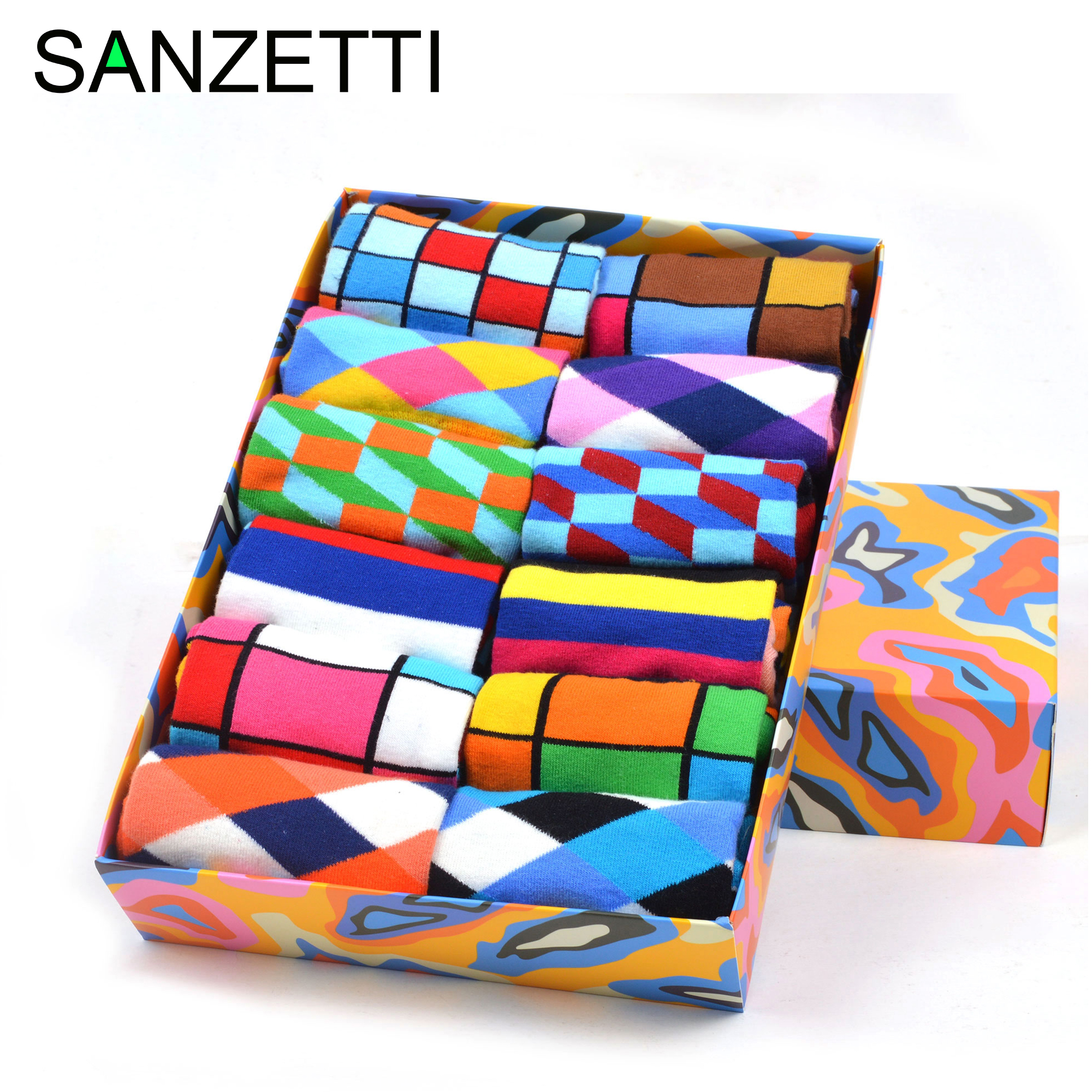 SANZETTI New Hot Colorful Men Socks Casual Combed Cotton High Quality Skateboard Funny Happy Wedding 12 Pairs/Lot Dress SocksMens Socks   -