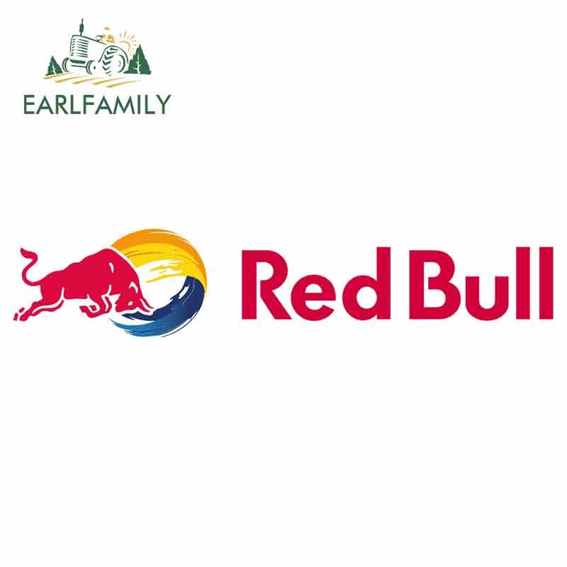 EARLFAMILY 13cm X 2.6cm For Red Bull Logo Car Stickers Cartoon Vinyl JDM Waterproof RV VAN Fine Decal 3D Car Accessories Oem