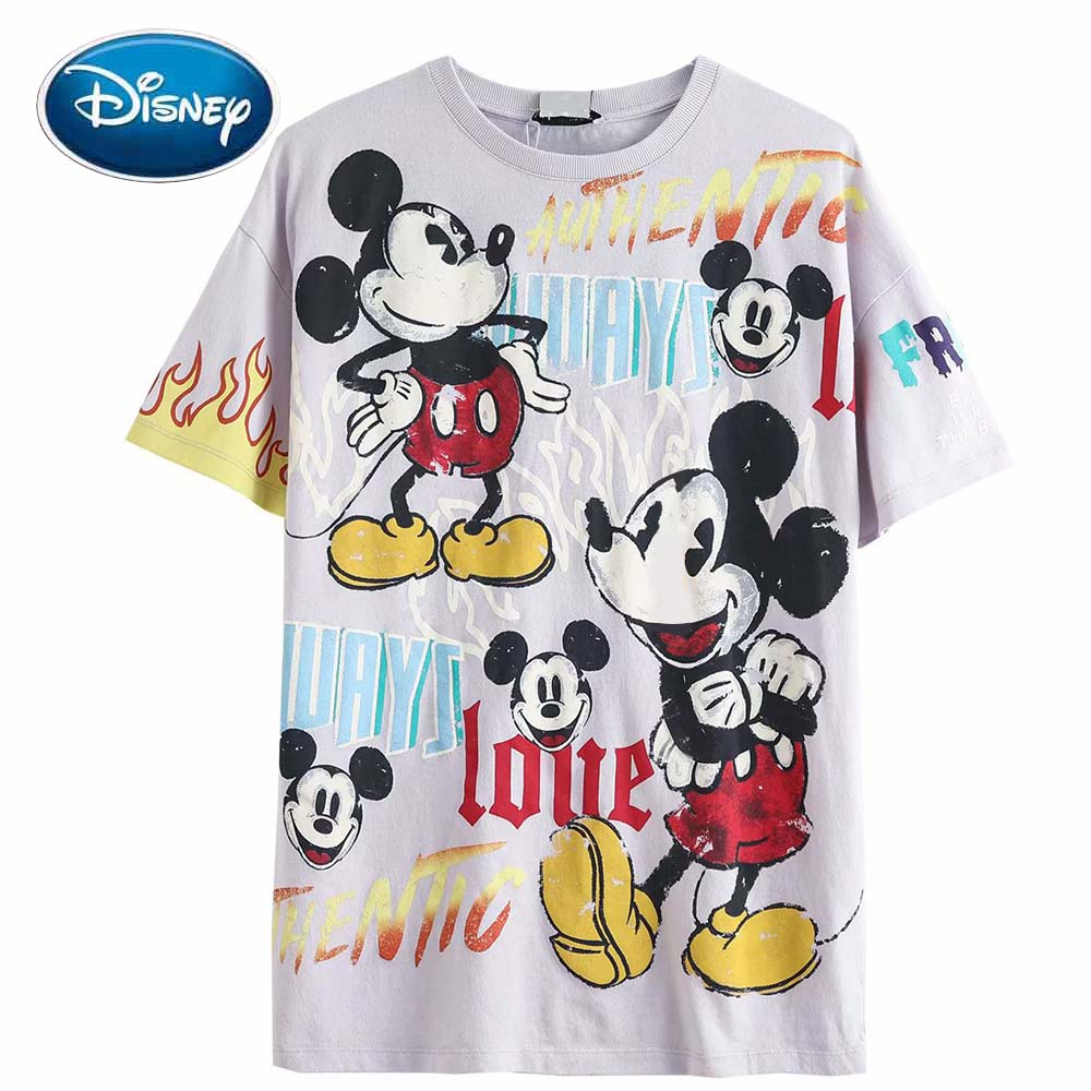 Disney Chic Fashion Colorful Mickey Mouse Letter Cartoon Print Casual Women T-Shirt O-Neck Pullover Short Sleeve Cotton Tee Tops