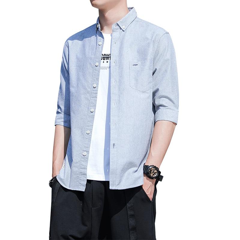 Autumn Men Middle Sleeve 100%Cotton Breathable Oxford Shirts MX19 3