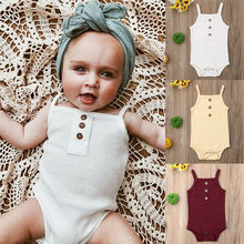 Newborn Infant Baby Girl Bodysuit Soild Babygrow Vest Clothes Sleeveless Romper One Piece Outfits Summer Clothes New(China)
