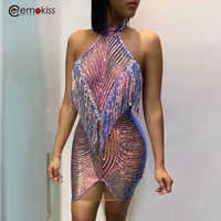 Ceremokiss Sequined Halter Sexy Women Dress Lace Tassel Mini Dresses Summer Backless Night Club Party Bodycon Dresses Vestidos