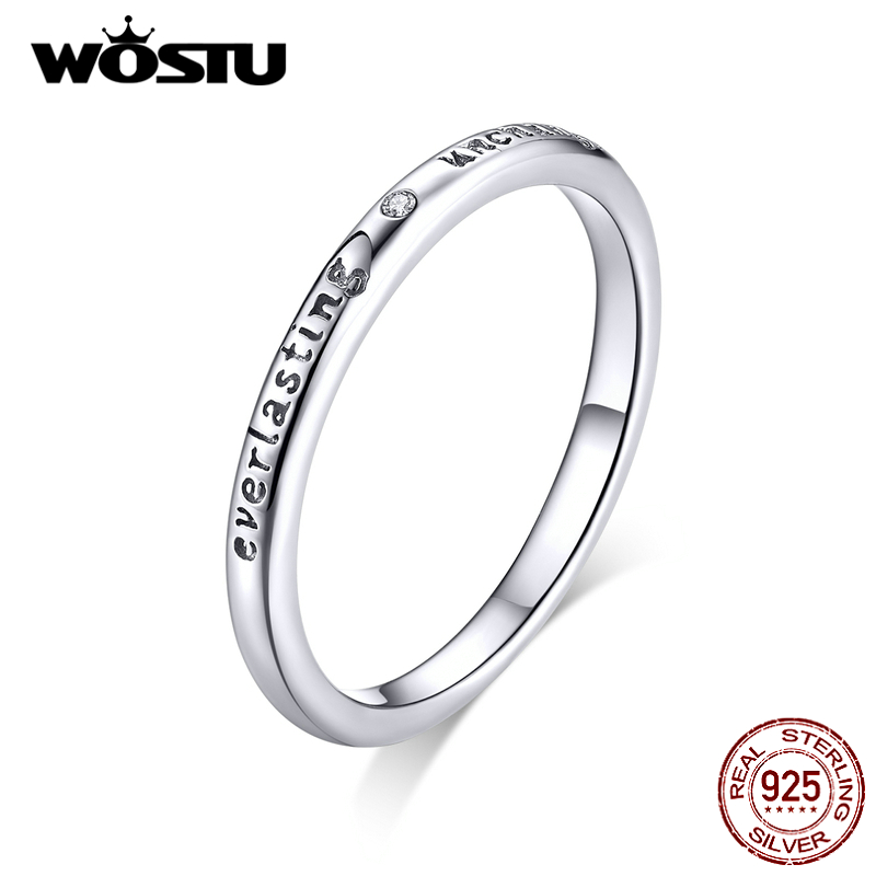 WOSTU 100% 925 Sterling Silver Ever Lasting Rings For Women Wedding Engagement Zircon Oath Rings Jewelry Gift CTR094