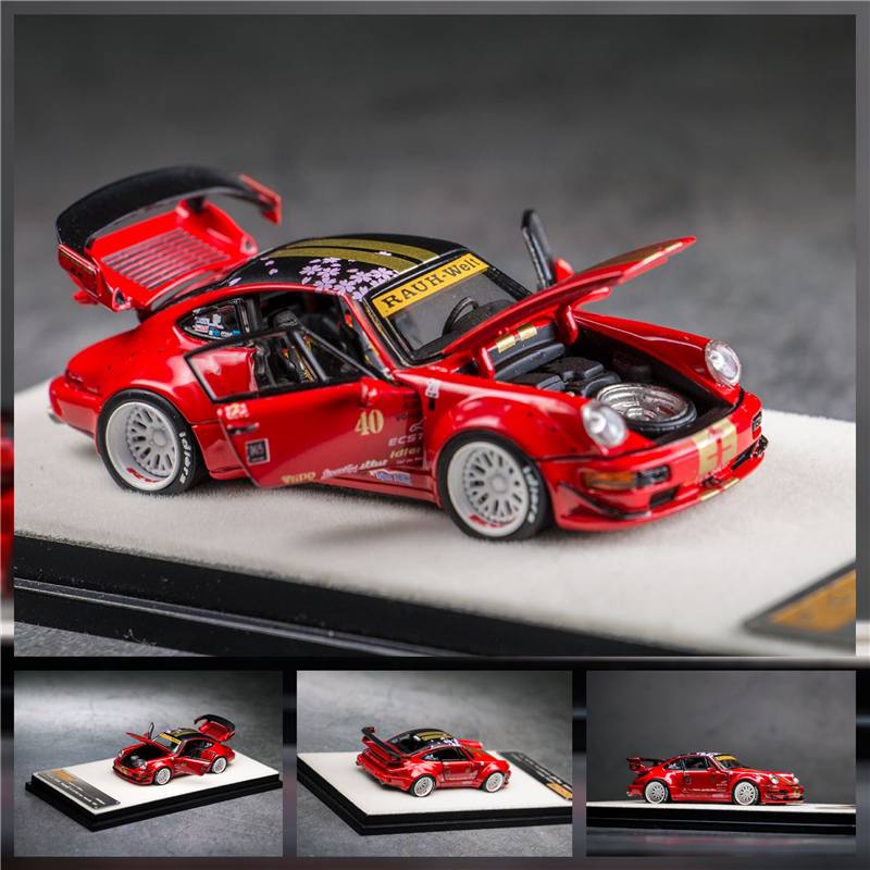 PGM 1:64 RWB 964 RAUH-Welt #40 Sakula Red Diecast Model Car