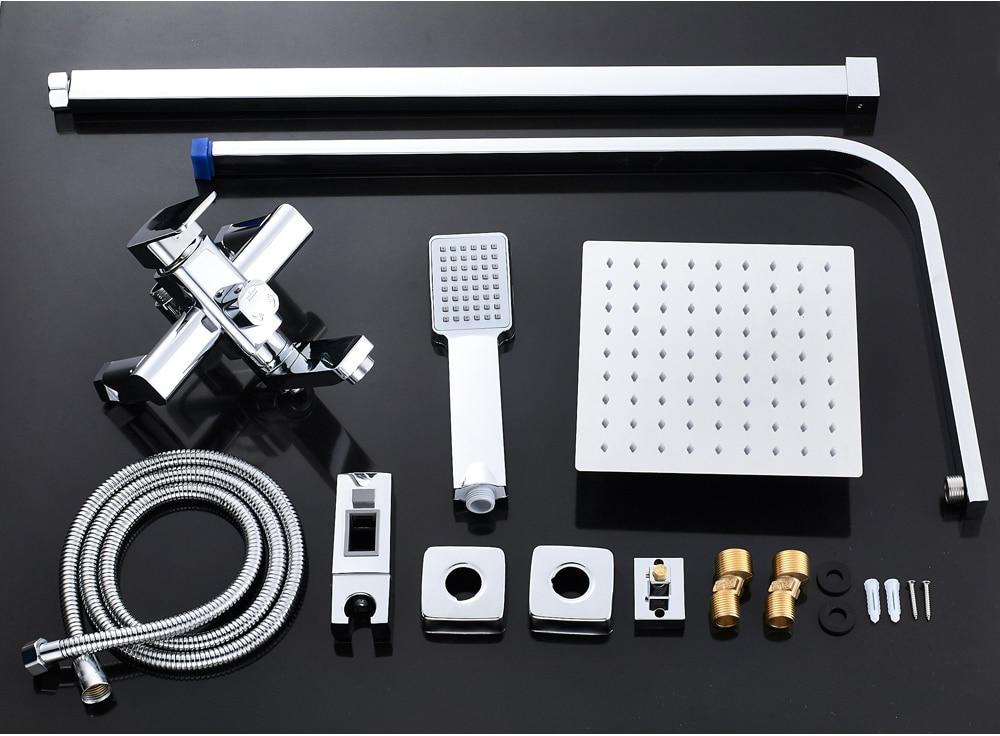 H0004d65bd3c847c1b7b1ccd607fde48bm POIQIHY Black Bathroom Shower Faucet Set Wall Mount Black 8''Rainfall Shower Head With Handheld Sprayer Bathtub Shower Mixer