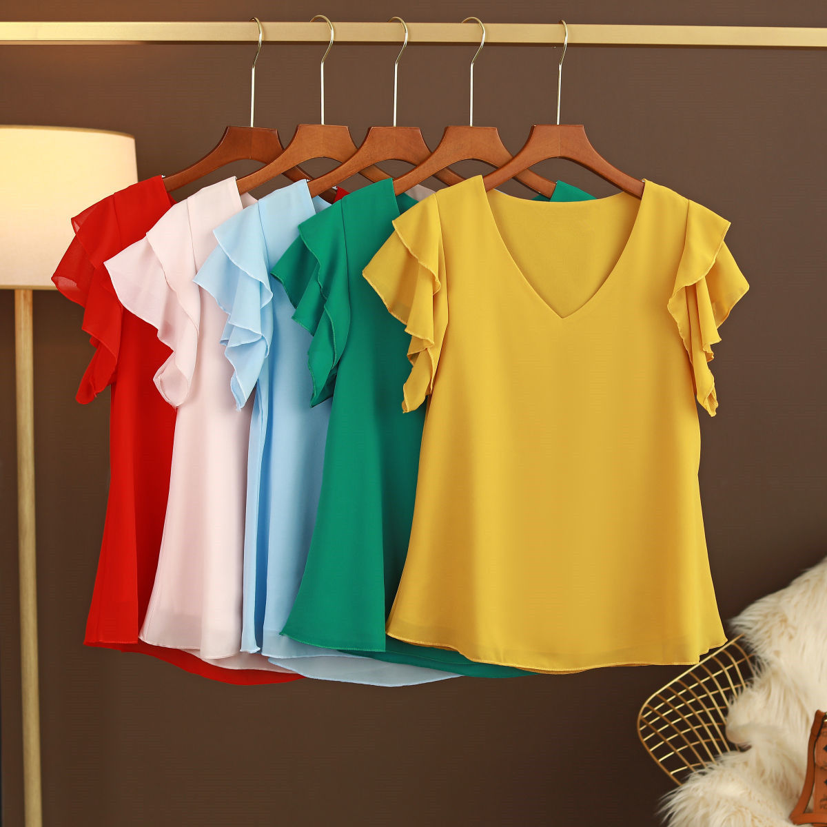 2021 New Fashion Women's blouse Tops Summer Short sleeve Chiffon shirt Solid V-neck Casual blouse Plus Size 5XL Loose Female Top 6
