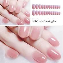 24 шт накладные ногти конфетного розового цвета искусственные