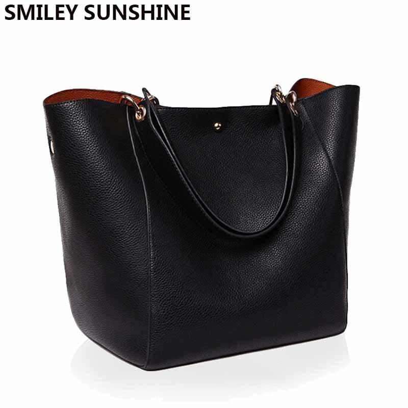 Real Genuine Leather Women Shoulder Bag High Quality Designer Leather Handbag Female Big Tote Ladies Hand Bags for women 2019-in Shoulder Bags from Luggage & Bags