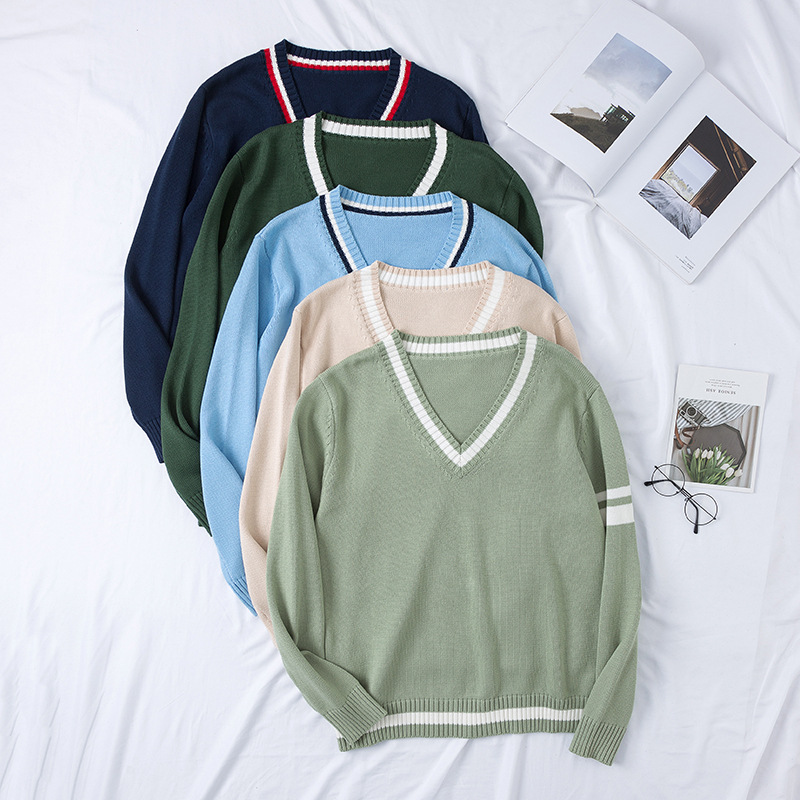 New JK Uniform Cotton Thick V-neck Sweater Autumn Winter Preppy Style Long Sleeve Pullovers School Girl Outfit Japanese Fashion