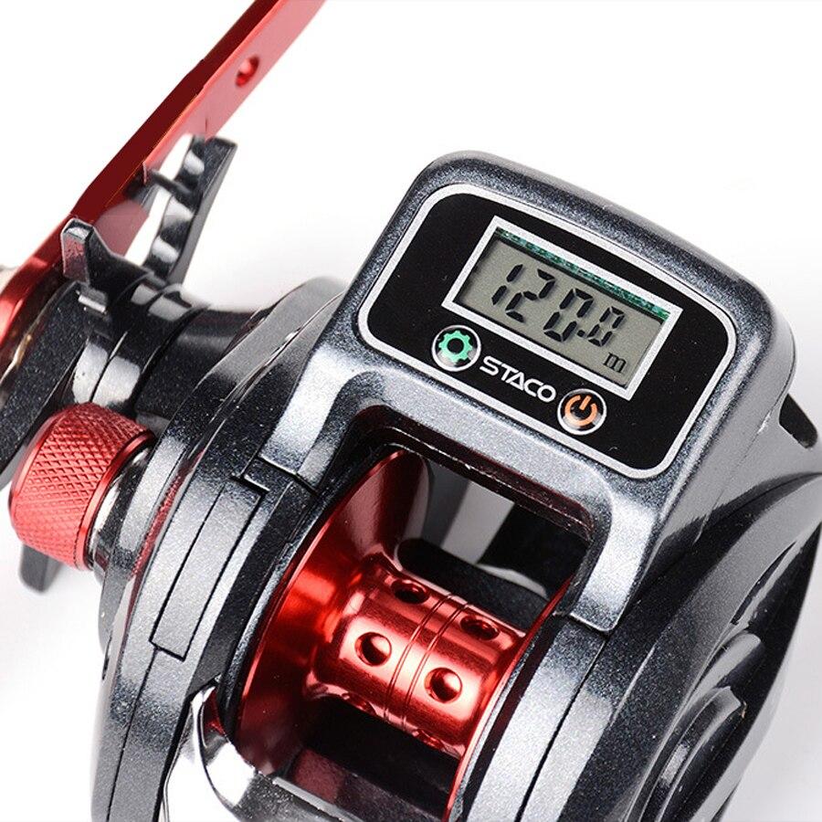 6.3: 1 13 + 1bb 낚시 릴 왼쪽/오른손 로우 프로파일 라인 카운터 낚시 태클 기어 디지털 디스플레이 carretilha pesca