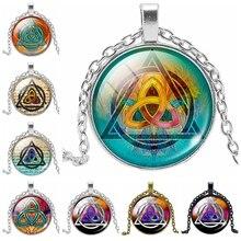 2019 Hot Fashion Irregular Triangle Time Crystal Glass Convex Round Pendant Necklace Clothing Sweater Chain Jewelry stylish women s arrow irregular triangle pendant layered necklace