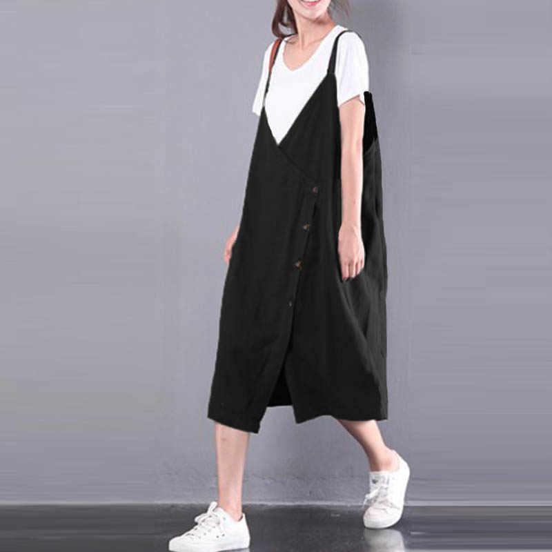 2020 ZANZEA Women Overalls Dress 우아한 Starppy V 넥 Vestidos 여성 캐주얼 민소매 Short Sundress 솔리드 버튼 Robe 5XL