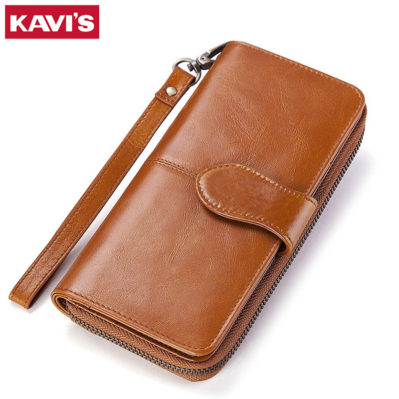 KAVIS New Women Purses Long Zipper Genuine Leather Ladies Clutch Bags With Cellphone Holder Card Holder Wallet High Quality