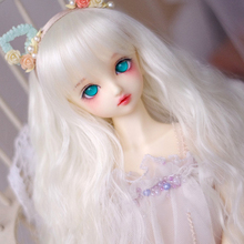 цена 1/3 1/4 1/6 1/8 Bjd Wig High Temperature LOVELY Long Wavy Wire White Bjd Wig SD For BJD Doll Hair Wig онлайн в 2017 году