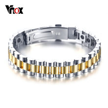 Vnox Bio Power Energy Bracelets for Women Men Hematite Stones Watch Band Style(China)