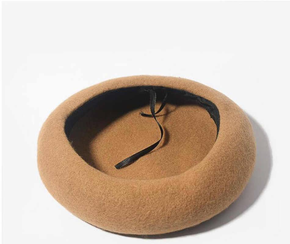 قبعات بيريه الصوف النساء الشتاء الفرنسية قبعة الفتيات بلون موضة الخريف الشتاء قبعة البيريه للنساء قبعة مسطحة قبعة ورأى القبعات