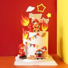 Brandweerman Set Brandladder Truck Decoratie Voor Kinderen Dag Water Tank Gelukkige Verjaardag Cake Toppers Party Benodigdheden Mode Geschenken