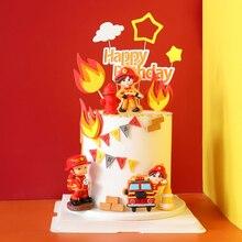 Pompiere Set Fuoco Camion di Scaletta Decorazione per il Giorno dei bambini Serbatoio di Acqua Felice Torta Di Compleanno Toppers Rifornimenti Del Partito di Modo Regali