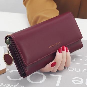 aliwood New Fashion Women Wallets Brand Letter Long Tri-fold Wallet Purse Fresh Leather Female Clutch Card Holder Cartera Mujer 1