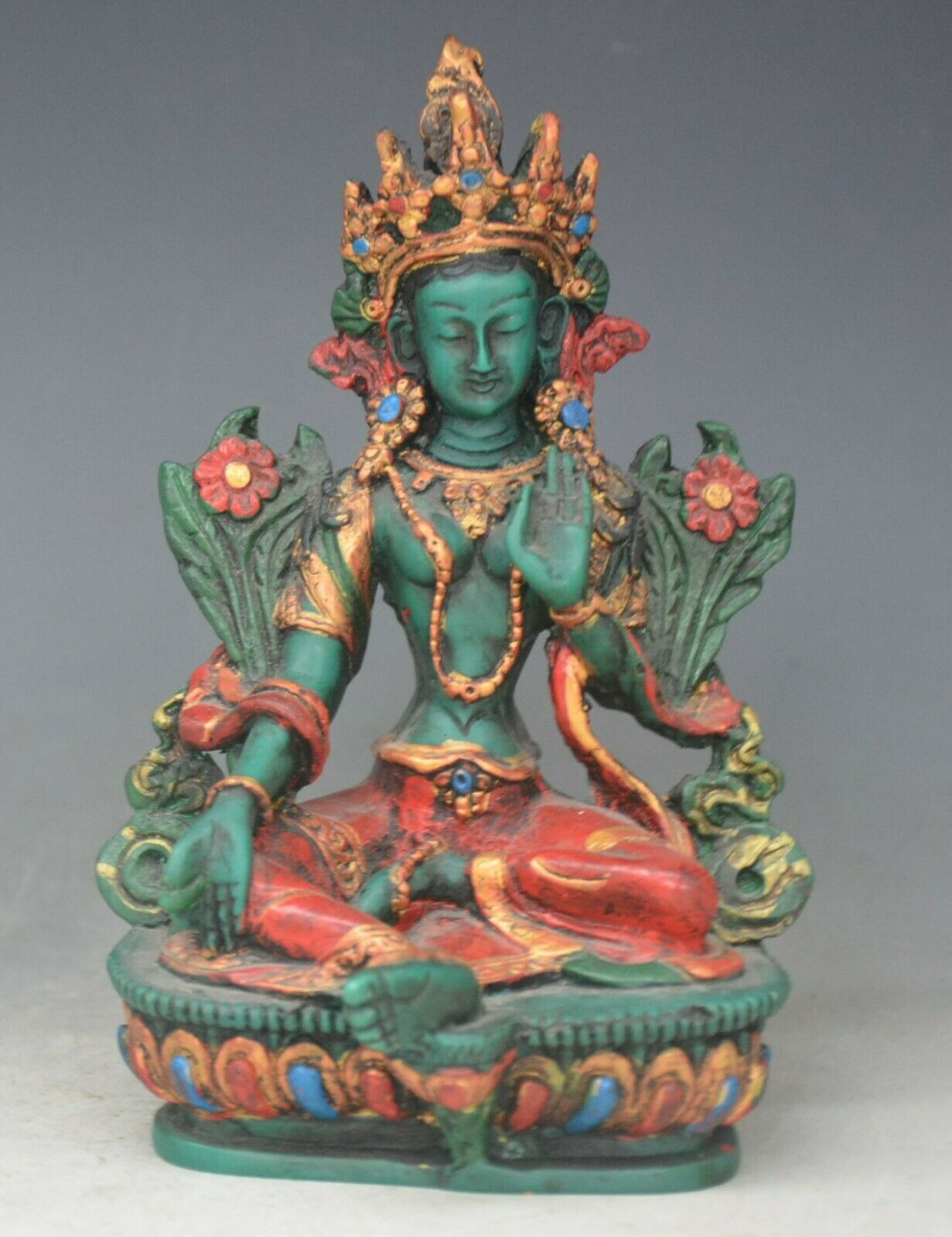 Tibet Antique Lacquerware Green Tara Goddess Guanyin Statue Buddha Statue Safe And Good Luck Home Decoration