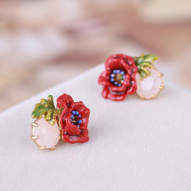 Bijoux en émail faits à la main rétro rouge pavot or boucle d'oreille délicate cristal pierre percé boucle d'oreille S925 argent Post boucles d'oreilles - 3