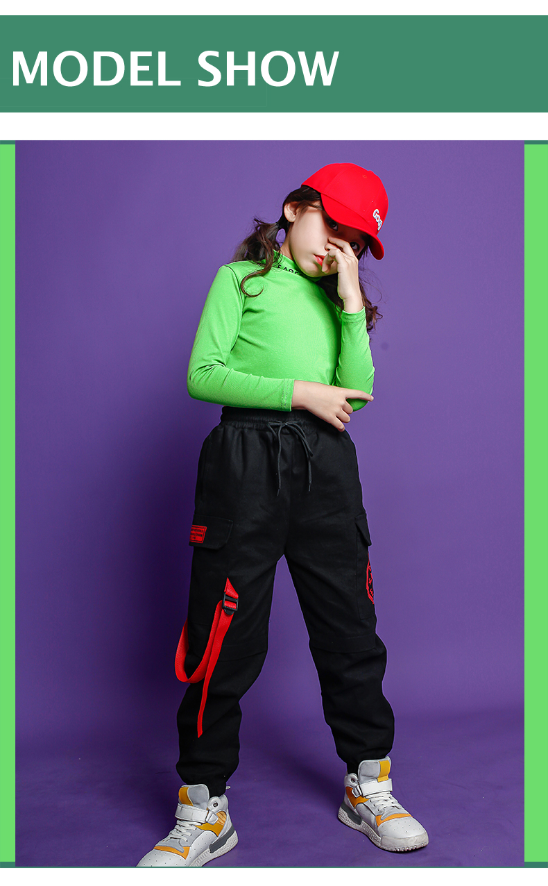 Fashion Children Jazz Dance Costume For Girls Hip Hop Street Dancing Costumes Crop Top Pants Kids Performance Dance Clothes (6)