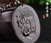 Natural ice Obsidian sun Tathagata Buddha head pendant men's necklace Buddha brand couple necklace jewelry