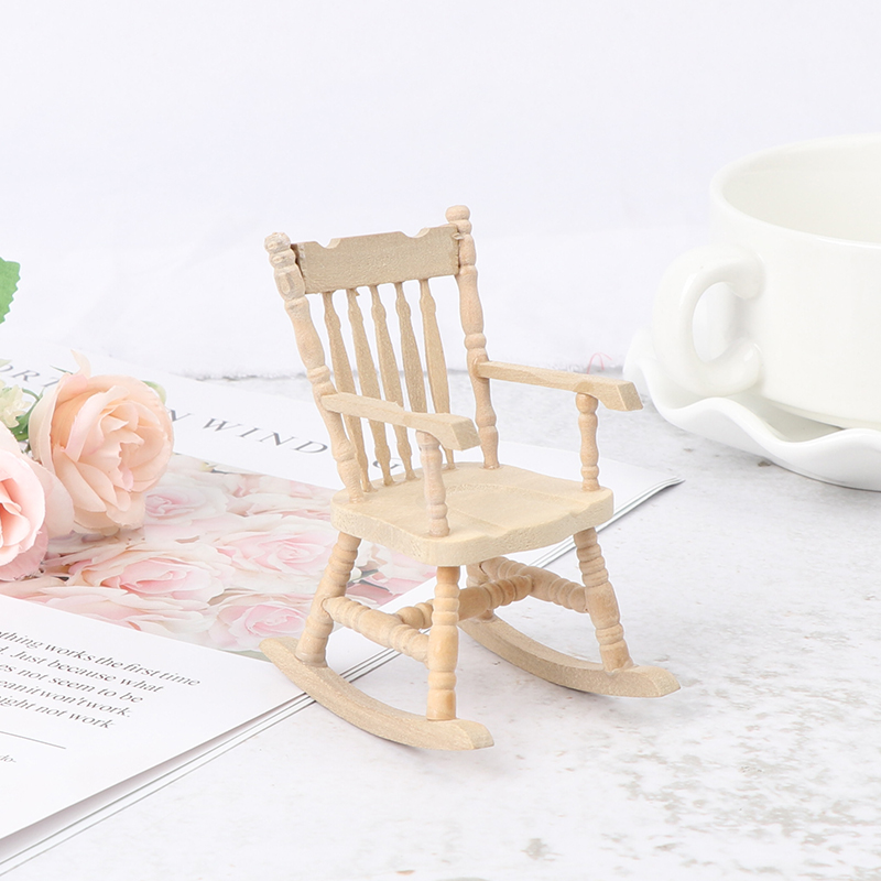 FILOL 1:12 Novelty Decor Rocking Chair Nice Paly Things Miniature Toy Dollhouse Furniture DIY Ornament Kit Doll House Accessories for Pre-K Boys Toddlers Girls