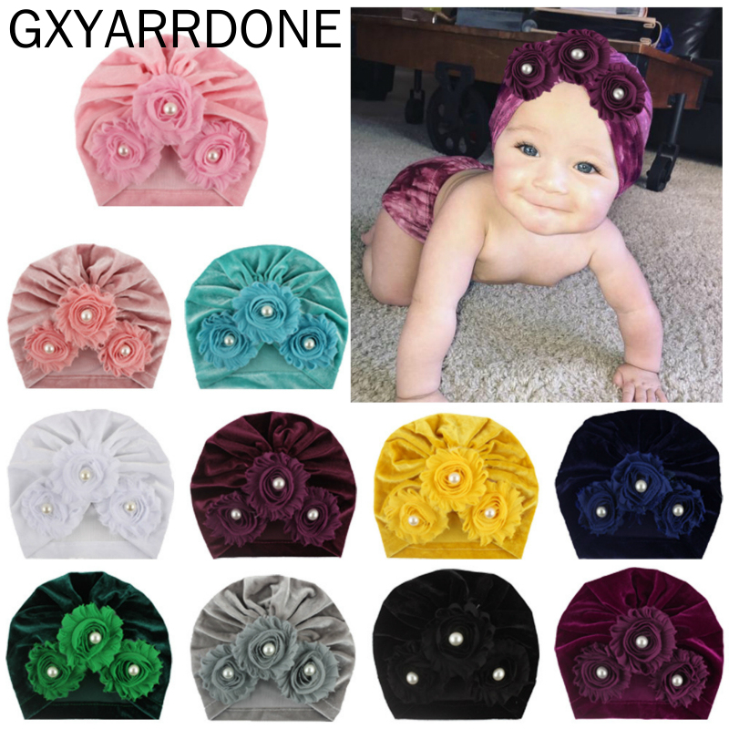 11 Colors 2019 Winter Baby Hat For Girls Pearls Sunflower Newborn Hat Beanie Turban Hats Velvet Toddler Girl Cap Accessories