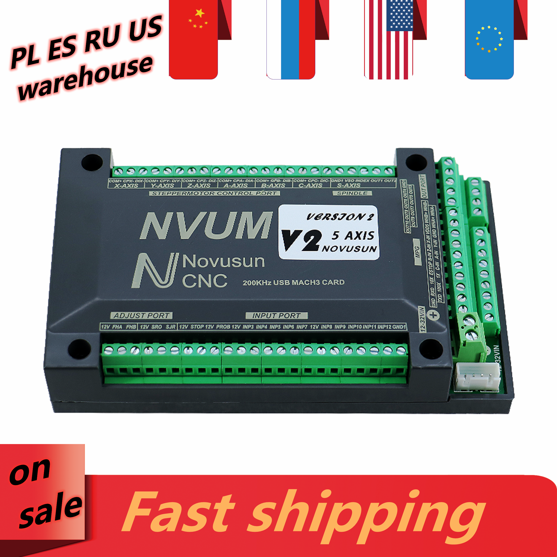 NVUM CNC motion card 3 axis 4 axis 5 axis 6 axis USB Ethernet 200Khz controller board support Microstep servo drive system