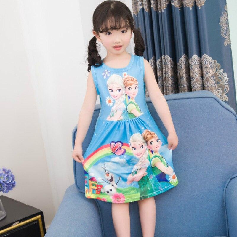Летнее Ночное Платье Принцессы Disney, Детская Пижама, Детская домашняя одежда, ночная рубашка для девочек с мультяшным принтом «Холодное серд...