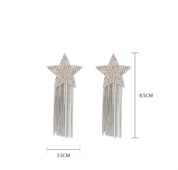 Dominated 2019 fine crystal Star shiny design Hyperbole style Korean Women Drop earrings contracted metal chain long tassel new