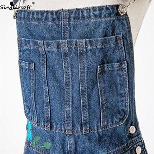 Image 4 - Plus Size 5XL Jeans Women Florals Printing Denim Jumpsuits Rompers Female Slim Suspender Trousers Women Loose Overalls Jumpsuit