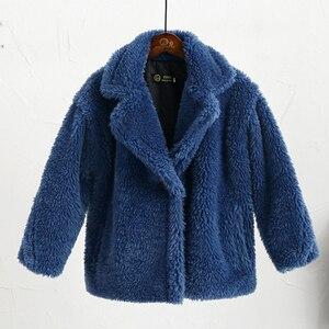 Image 5 - Abrigo de piel sintética para niños de 3 a 12 años, oso de peluche bebé, chaqueta gruesa cálida, abrigo largo para niñas, ropa para niños, prendas de vestir informales