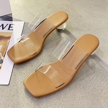 Summer Fashion PVC Transparent Slippers Women Sexy High Heels Square Toe Ladies Shoes Shallow Sandals Slides Women Clear Heels