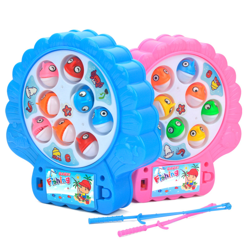 New Arrival Electric Rotating Fishing Game Musical Fishing Educational Toys With 8 Fishes Toy For Children Outdoor Play Set Hot