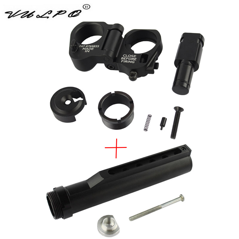 VULPO Tactical 6 Position Stock Pipe AR Folding Stock Adapter For M4 M16 Series Airsoft AEG GBB Hunting Accessories image