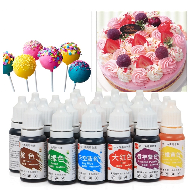 24 Colors Edible Pigment 10ML Food Coloring Healthy Safe Fondant Cake Decorating Tools Macaron Cream Cake Baking & Pastry Tools
