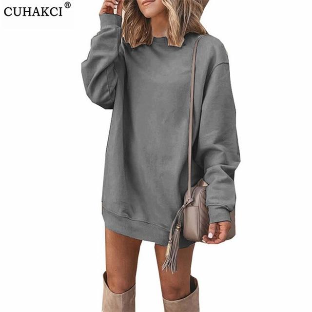 CUHAKCI Fashion Women Sweatshirt Dress Long Sleeve Jumper Autumn Casual Pullover Round Neck Ladies Solid Vestidos Plus Size 1