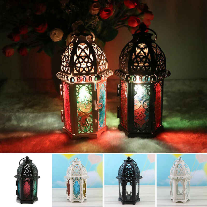 Brand New European Candlestick Vintage Hanging Candle Holder Moroccan Glass Candle Lantern Wedding Home Decor