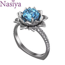 925 Silver Ring Sapphire Color Gemstone Ring Women Jewelry wholesale Party Birthday Wedding Gift(China)