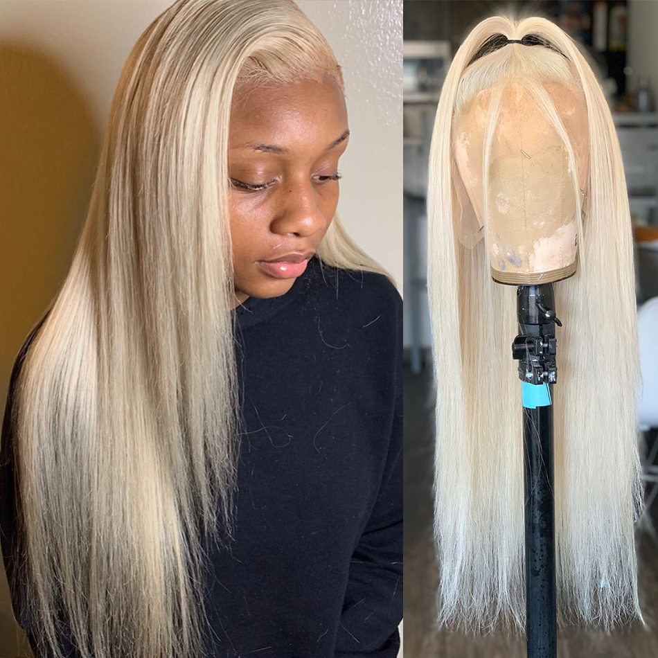 Rosabeauty Blonde 13x4 Straight 613 Lace Front Human Hair Wigs Brazilian Hair Preplucked For Black Women 150Density Glueless wig image