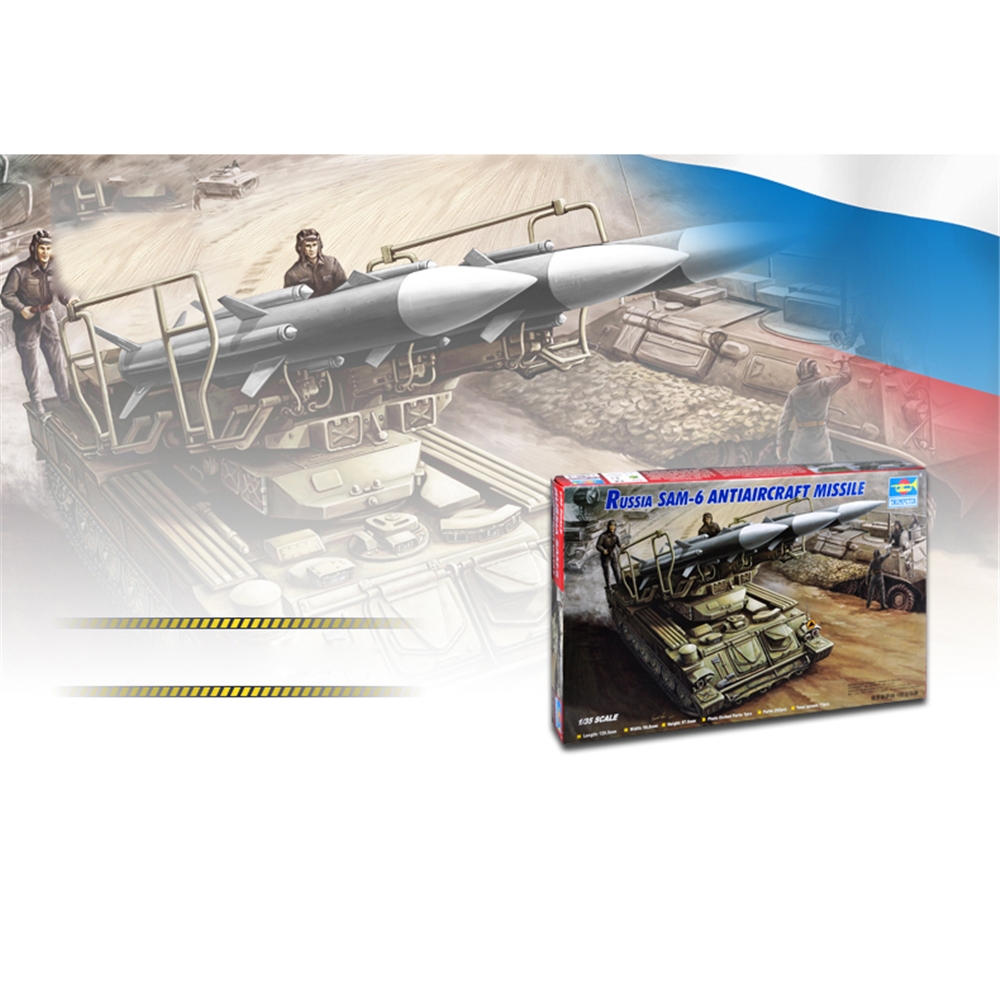 For <font><b>1/35</b></font> <font><b>Trumpeter</b></font> 00361 Russian SAM-6 Anti-Aircraft Missile Plastic DIY Military Model Kit tank image